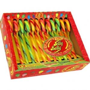 Jelly Belly Candy Canes 12pk Very Cherry-Green Apple-Orange